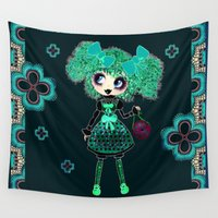 lolita Wall Tapestries featuring Kawaii Girl PinkyP GothLoli Emerald Lolita Fashionista  by LeahG PinkyP creator