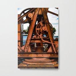 The Old Rusty Ship Crane Metal Print