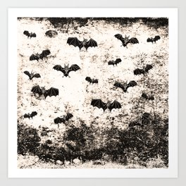 Vintage Halloween Bat pattern Art Print