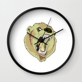 Grizzly-bear badge Wall Clock