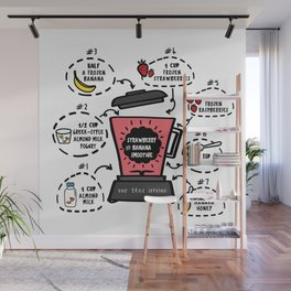 Strawberry and Banana Smoothie Recipe Wall Mural