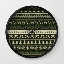 Seamless Ugly Christmas Sweater Pattern Design Wall Clock