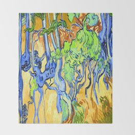 Van Gogh Tree Roots Throw Blanket