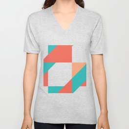 Summer Orange and Aqua Color Block Unisex V-Neck