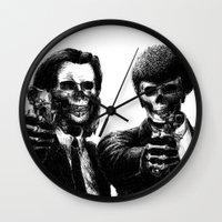 pulp fiction Wall Clocks featuring Pulp Fiction by Motohiro NEZU