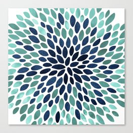 Flower Bloom, Aqua and Navy Canvas Print