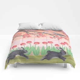bunnies, tulips, and mourning doves Comforters