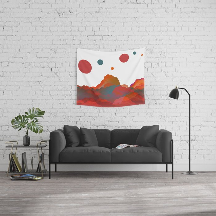 """""""Coral Sci-Fi Mountains"""" Wall Tapestry"""