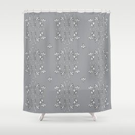 Bees and flowers pattern grey Shower Curtain