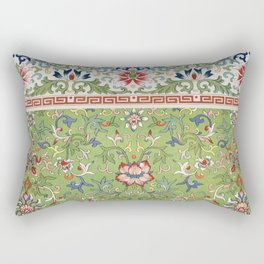 Asian Floral Pattern in Jade Green Antique Illustration Rectangular Pillow