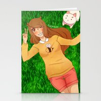 puppycat Stationery Cards featuring Bee and Puppycat by radcoffee