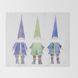 Three funny gnomes Throw Blanket
