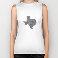 texas Biker Tanks featuring Typographic Texas by CAPow!