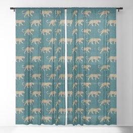 leopards walking - teal Sheer Curtain