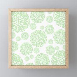 Abstract Flower Medallion Spring/Summer Muted Green and White Framed Mini Art Print