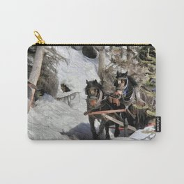 Horse Drawn Wintery Sleigh Ride Carry-All Pouch