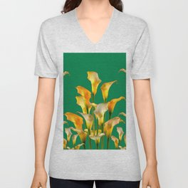 DECORATIVE GREEN ART GOLDEN CALLA LILIES Unisex V-Neck