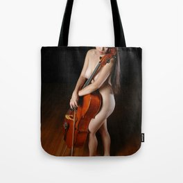 0199-JC Nude Cellist with Her Cello and Bow Naked Young Woman Musician Art Sexy Erotic Sweet Sensual Tote Bag