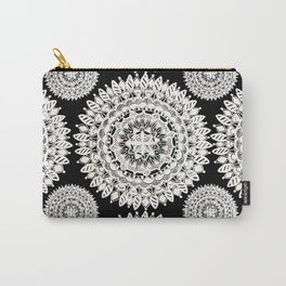 Black and Metallic White Floral Textile Mandala Carry-All Pouch
