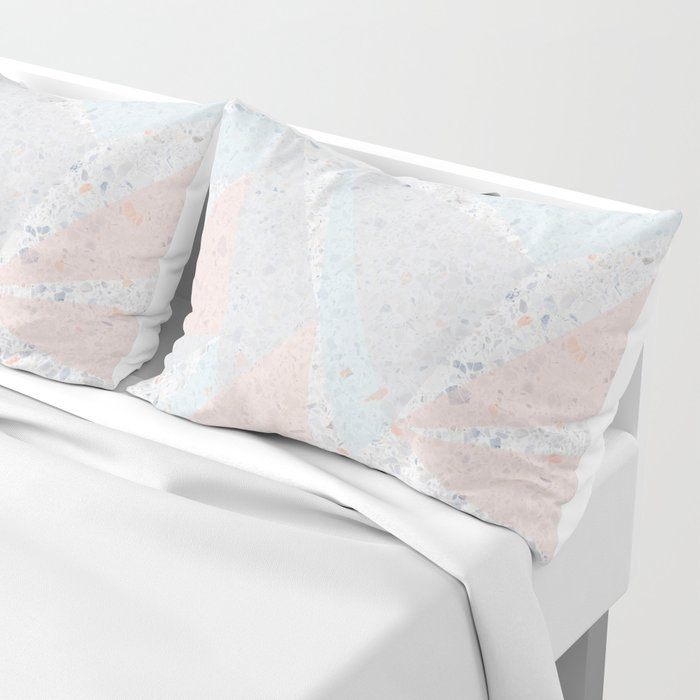 Soft terrazzo pastel with abstract geometric triangles Pillow Sham