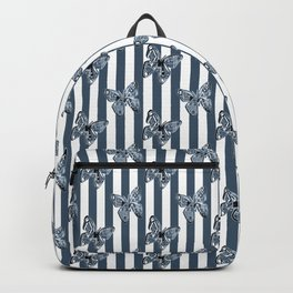 Blue butterflies on a striped background . Backpack