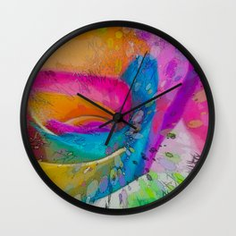 MOLECULAR RAINBOW ROSE ABSTRACT ART Wall Clock