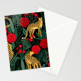 Leopards & Roses Pattern Stationery Cards