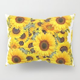 CLASSIC WHITE & BLUE SUNFLOWERS ART Pillow Sham