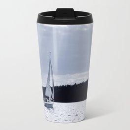 Blue melancholy lake view Travel Mug