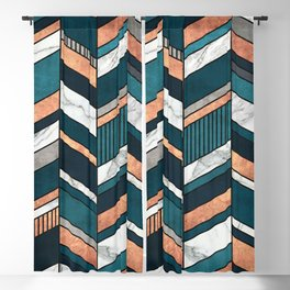 Abstract Chevron Pattern - Copper, Marble, and Blue Concrete Blackout Curtain
