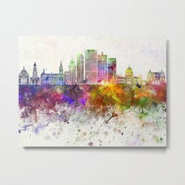 Milwaukee V2 skyline in watercolor background Metal Print