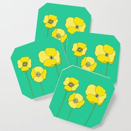 Bright Yellow and Mint Green Poppies Growing and Thriving Coaster