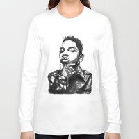 kendrick lamar Long Sleeve T-shirts featuring Kendrick Lamar Lithograph by Drewnelz