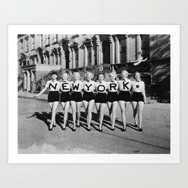 New York Girls in a line, lovely girls on the street - mid century vintage photo Art Print