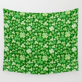 Lucky Green Watercolour Shamrock Pattern Wall Tapestry
