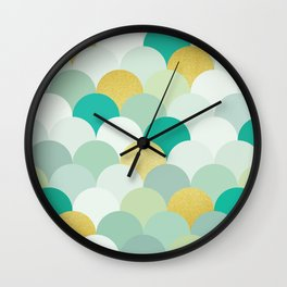 Golden and colorful spheres I Wall Clock