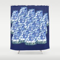 nba Shower Curtains featuring GRIZZLIES HAND-DRAWING DESIGN by SUNNY Design