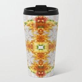 Gold Chrysanthemum Kaleidoscope Art 1 Travel Mug