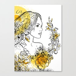 nature flower woman Canvas Print