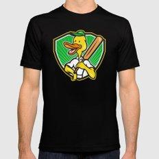 Duck Cricket Player Batsman Cartoon Mens Fitted Tee Black 2X-LARGE