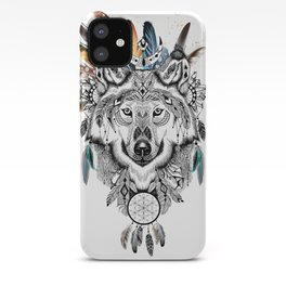 Bohemian Wolf with Feather Headdress iPhone Case