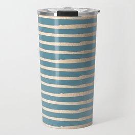 Abstract Stripes Gold Tropical Ocean Blue Travel Mug