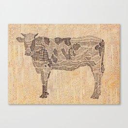 Cow on Newsprint Canvas Print