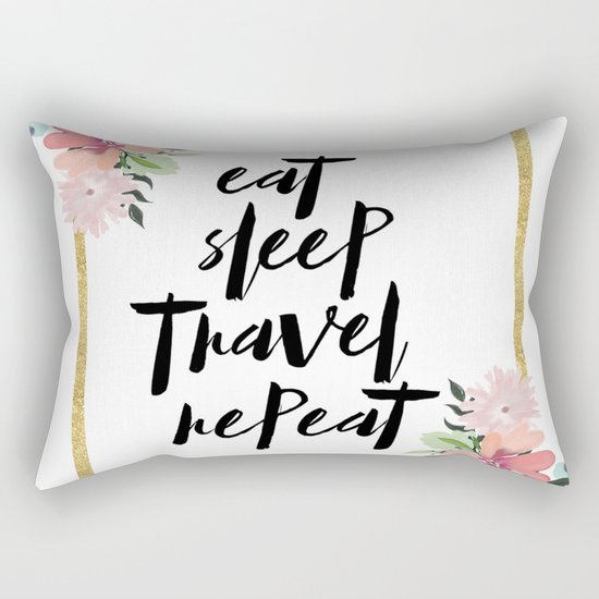 eat sleep travel repeat Rectangular Pillow