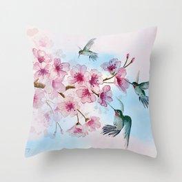 Cherry Blossom and Hummingbirds Throw Pillow