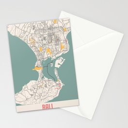 Bali - Indonesia Chalk City Map Stationery Cards