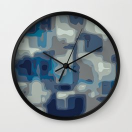 blue and grey painting abstract background Wall Clock