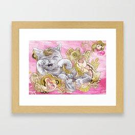 A Very Happy Cat Framed Art Print