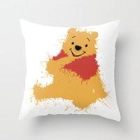 winnie the pooh Throw Pillows featuring Winnie The Pooh by DanielBergerDesign
