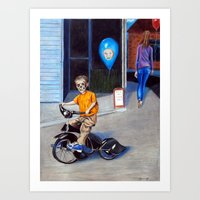 Timmy's new Tricycle Art Print